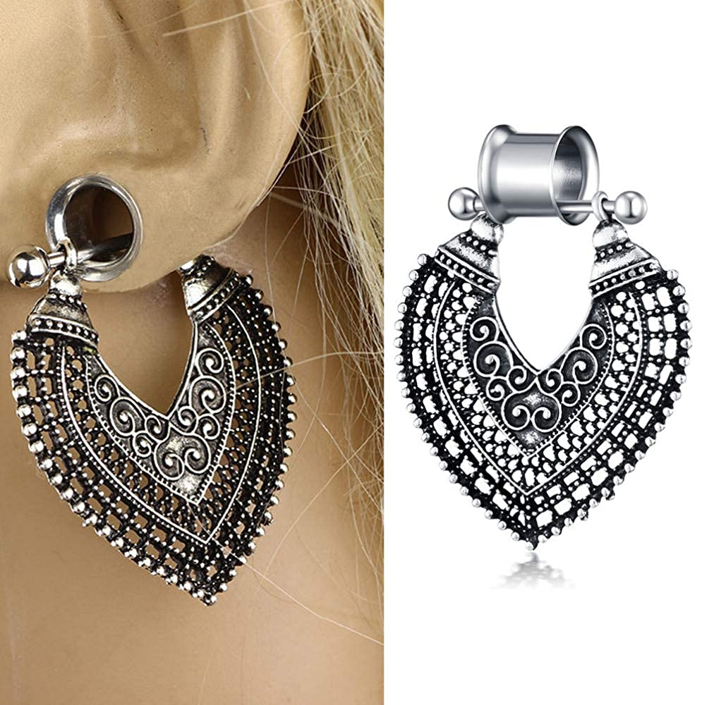 """MissDaisy 3 Pairs Stainless Steel Ear Plugs Pendant Unisex Earring Body Preicing Jewelry Tunnels Silver Gauges 2G to 5//8/"""""""