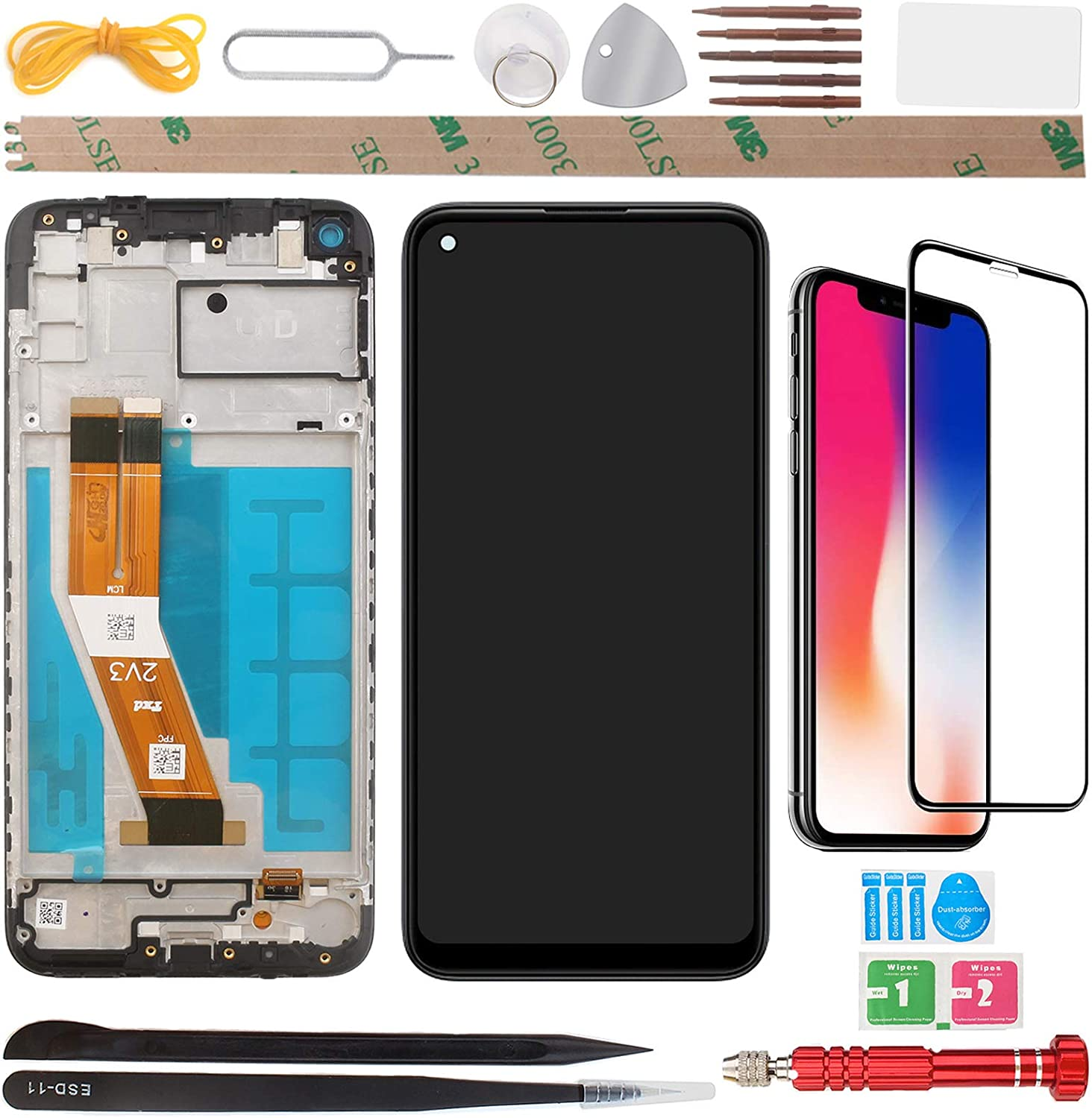 YHX-US OLED Screen Replacement LCD Display Touch Screen Digitizer Assembly with 1 Piece Screen Protector Suitable for Samsung Galaxy A11 SM-A115F 2020 6.40