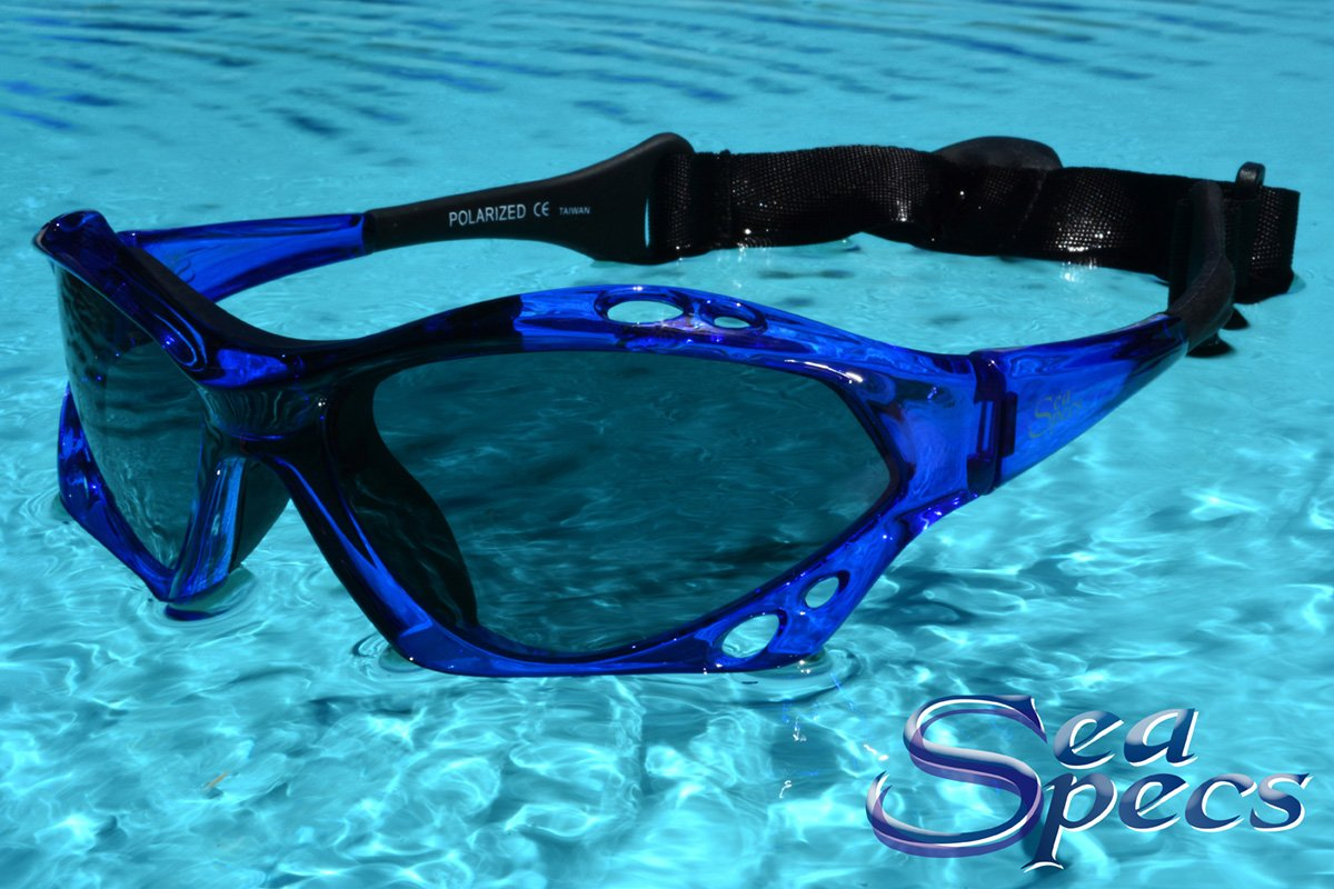 SeaSpecs Classic Cobalt Specs Blue Extreme WaterSports Floating Sunglasses w Semi Rigid Case Bundle (5 Items)+ Flex Clip Case + Soft Carry Pouch + Lens Cloth + WindBone Kiteboarding Lifestyle Stickers by SeaSpecs, FlexClip, WindBone