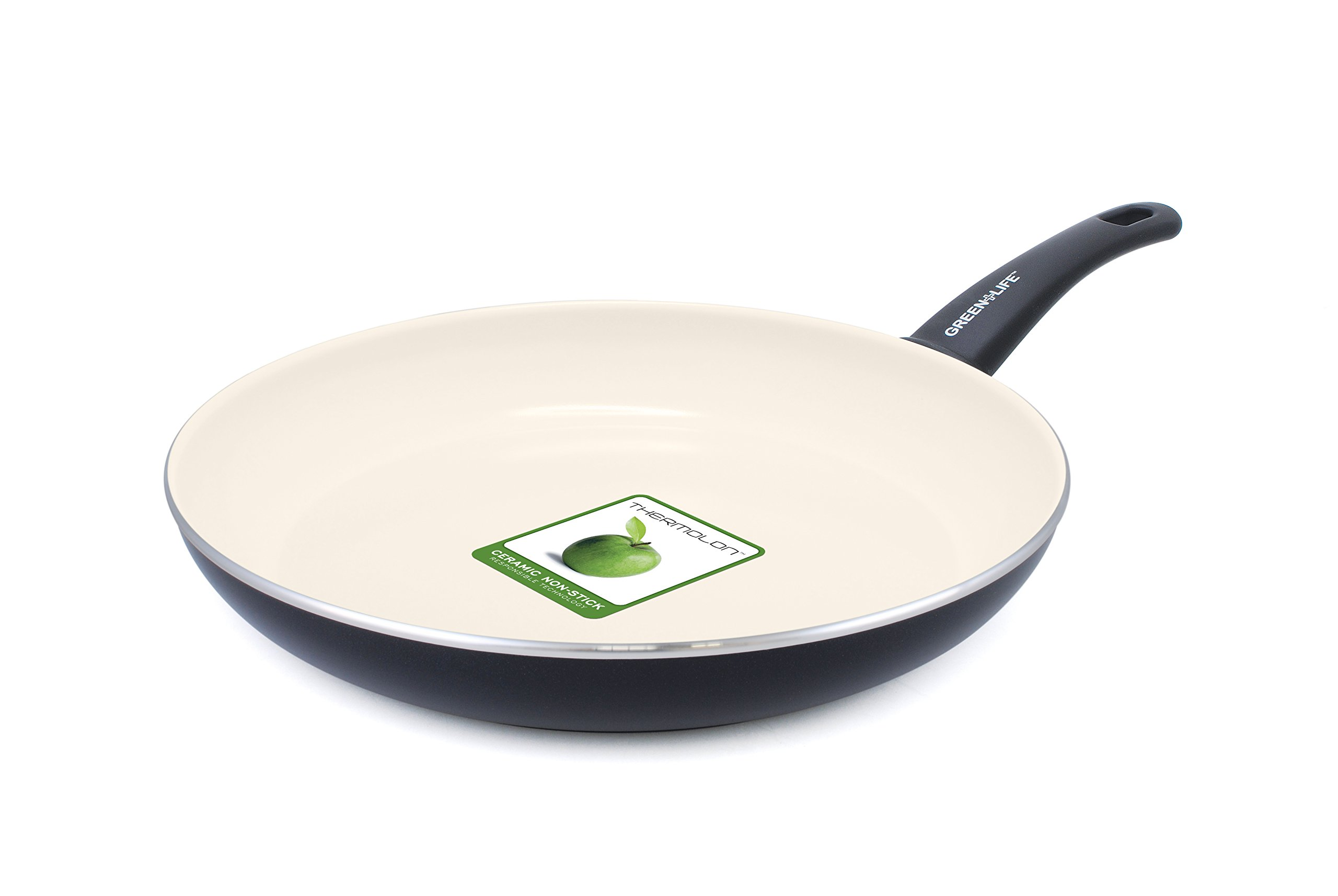 GreenLife Soft Grip 8'' Ceramic Non-Stick Open Frypan, Black