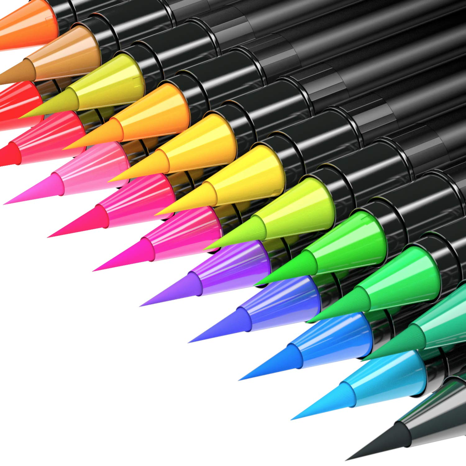 Watercolor Brush Pens 20 Colors Water Based - Soft Brush Markers for Coloring Books, Drawing, Calligraphy, Writing - Set of 20 Colors KronStar