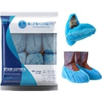 Blue Shoe Guys | 100 Premium Disposable Shoe & Boot Covers | Durable & Non-Slip, Water Resistant, Recyclable | One Size Fits Most - Love It Or It's 100% Free Guaranteed