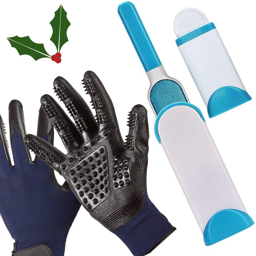 Holly Leaf New Pet Hair & Lint Remover Brush w/Gentle De-Shedding Pet Grooming Gloves Bundle - Double Sided w/Self-Cleaning Base - Perfect for Furniture Clothing Carpet Cars - Long & Short Hair/All