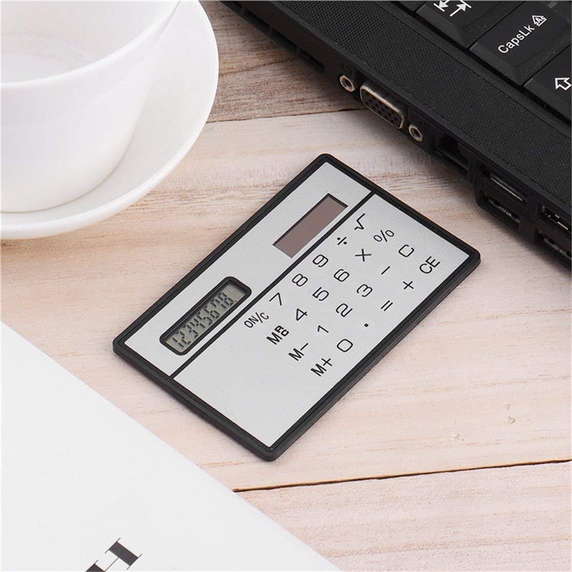 LouiseEvel215 8-stelliger ultrad/ünner Solarstrom-Rechner mit tragbarem Mini-Taschenrechner f/ür die Business School im Kreditkarten-Design mit Touchscreen