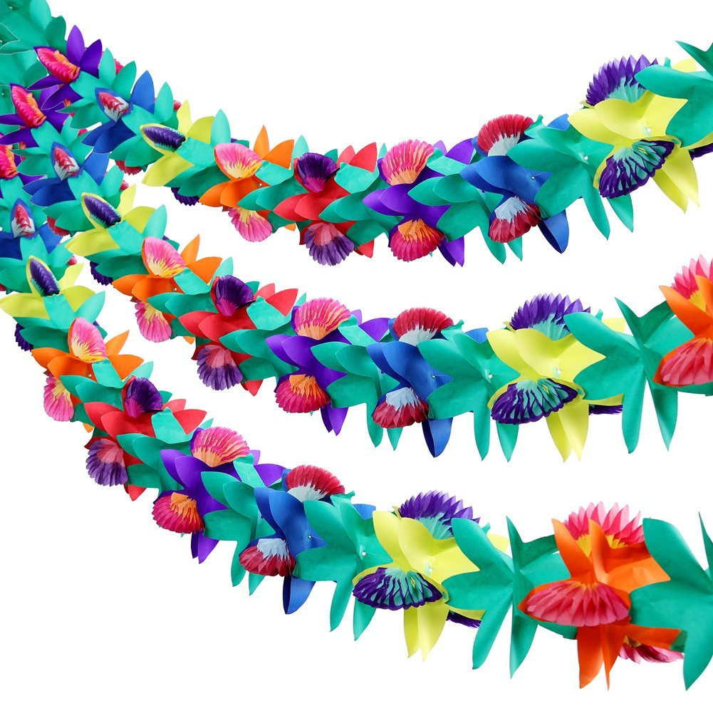 Xinzistar 3 Pieces 9 Feet Long Tropical Multicolored Paper Tissue Flower Garland Flower Banner for Luau Hawaiian Party Decorations by Xinzistar
