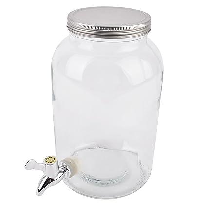 Dispensador de bebidas con grifo, cristal transparente, 35x 20x 20