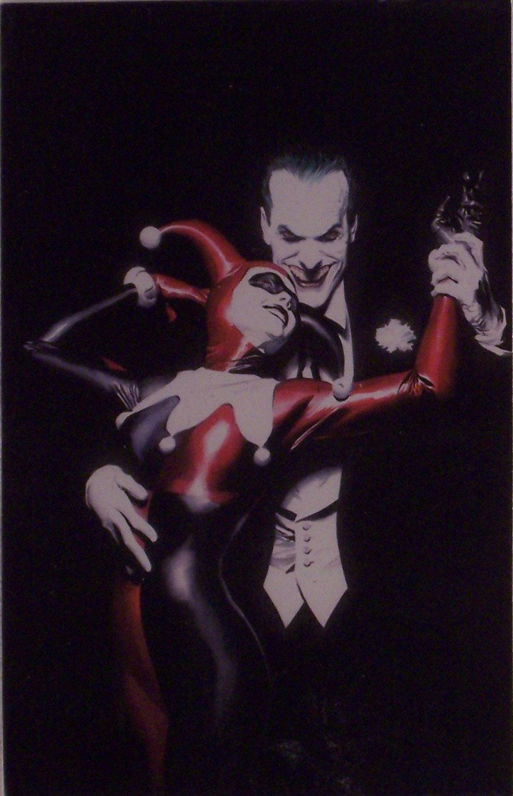 Tangle with Evil artwork by Alex Ross - The Joker and Harley Quinn DC Comics - Matted to 8 x 10 Inches.