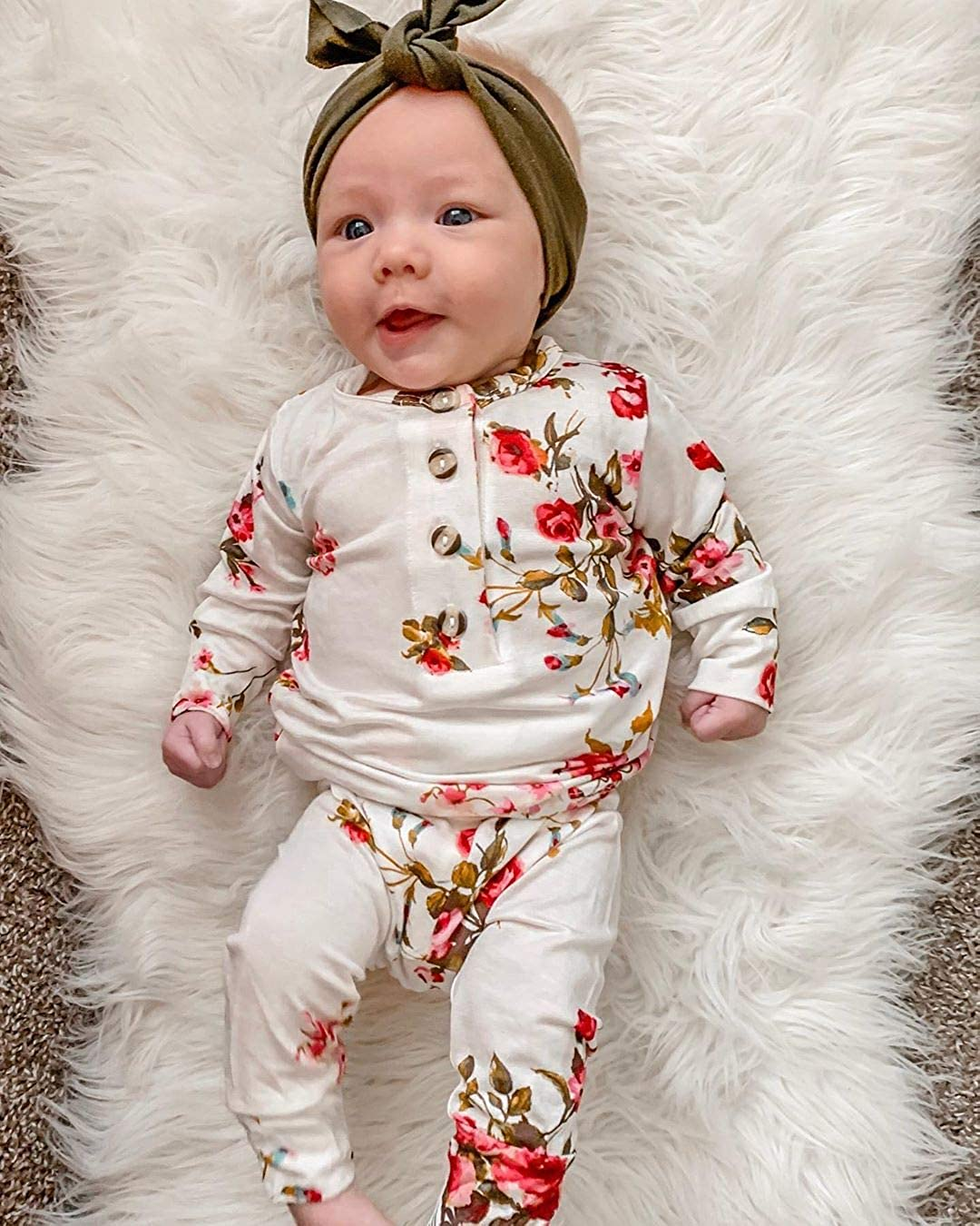 Alaby Baby Girl Floral Long Sleeve Jumpsuit Romper Newborn Cotton Bodysuit Button Outfit Pajamas Clothes 0-24M