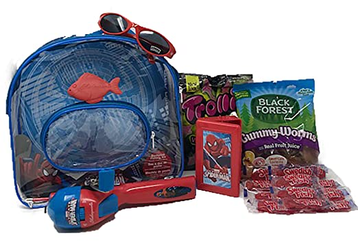 Amazon.com : Marvel Spiderman Youth Fishing Backpack Combo Set with Hide-A-Hook Bobber Kit, Black Forest Gummy Worms, Trolli Watermelon Gummy Sharks and ...