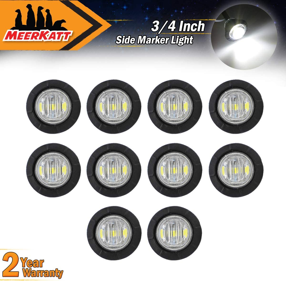 Meerkatt (Pack of 10) 3/4 Inch Mini Round White LED Side Marker Sealed Small Flush Mount Clearance Lamp Indicator Light Waterproof Tow Truck Caravan Bus Van Boat Ship Lorry Jeep 12V DC Universal 71w17Cs79hL