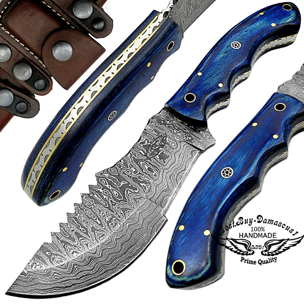 Blue Wood 9.5 Tracker Fixed Blade Custom Handmade Damascus Steel Hunting Knife 100 Prime Quality