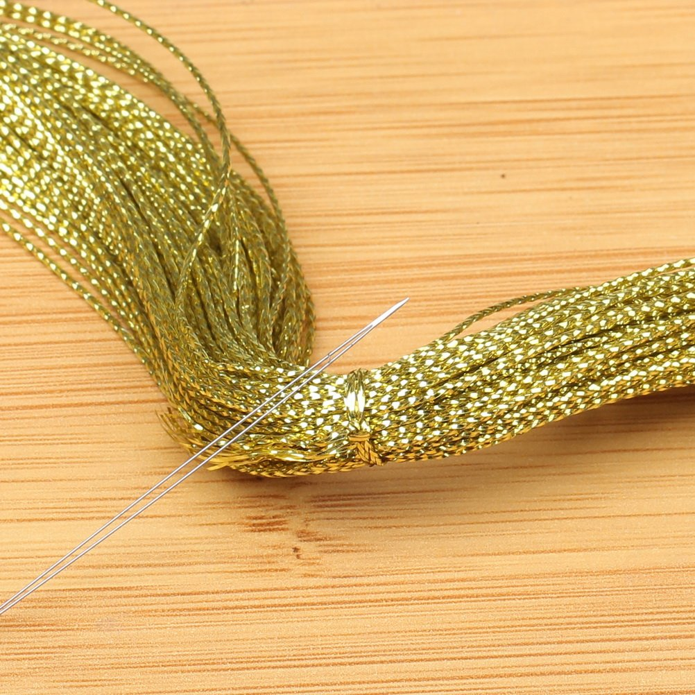 Gold Pengxiaomei 100M 1mm Metallic Cord Jewelry Thread Craft String Lift Cord for Jewelry and Craft Making