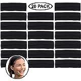 Stretchy Headbands - Yoga Headbands - Sports Headbands - 2-Inch-Wide Black Headband - 20 Pack Cotton Headbands by CoverYourHa