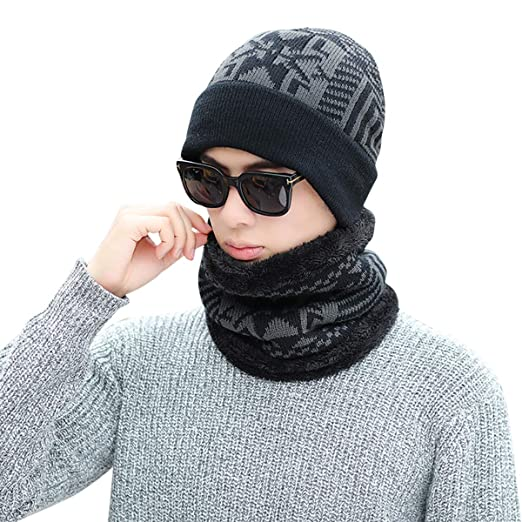 164430f06de Century Star Men s Winter Warm Knitting Hats and Scarf Wool Baggy Slouchy  Beanie Hat Skull Cap