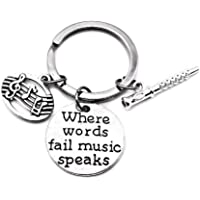 Flute Keychain, Music Keychain, Musical Note Keychain, Musical Instrument Keychain, Music Gift, Music Key Ring, Flute…