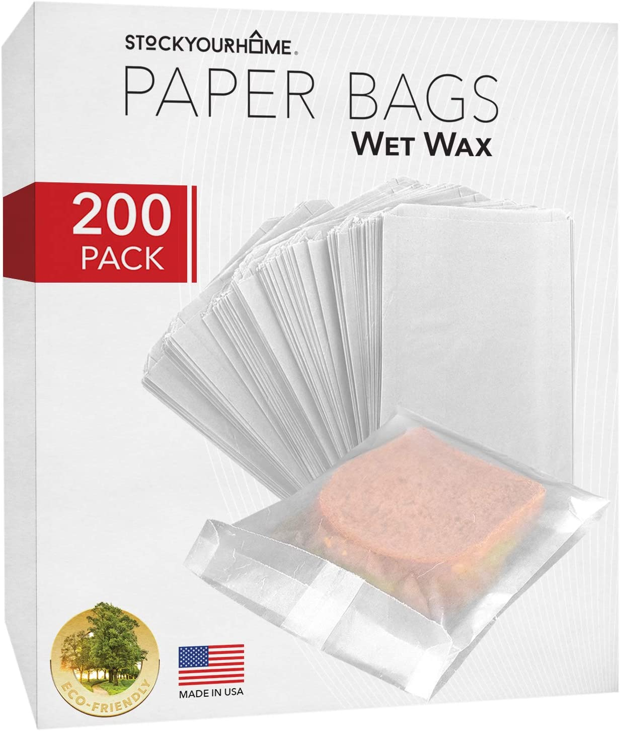 "Paper Sandwich Bags Bulk Wax Paper (200 Pack) 7"" x 6"" x 1"" Wet Wax Paper Bags - Food Grade Grease Resistant Wax Bags - White Glassine Bags - Paper Bags for Bakery Cookies, Candy, Snacks, French Fries"