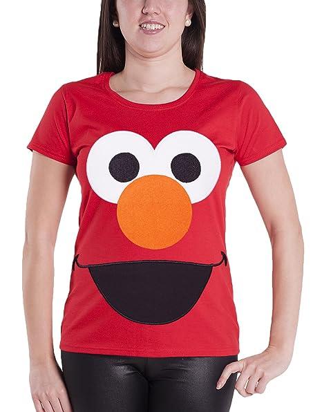 Sesame Street T Shirt Elmo Face Character Offiziell Damen Nue Rot Skinny Fit