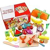 Jacootoys Juguetes de Corte de Madera Magnéticos Frutas y Verduras Juego de Alimentos con Delantal y Gorro de Cocinero…