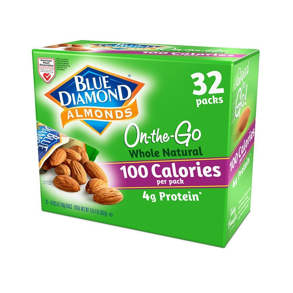 Blue Diamond Almonds Whole Natural Raw Almonds 100 Calorie auf die gehen Bags, 32 Count