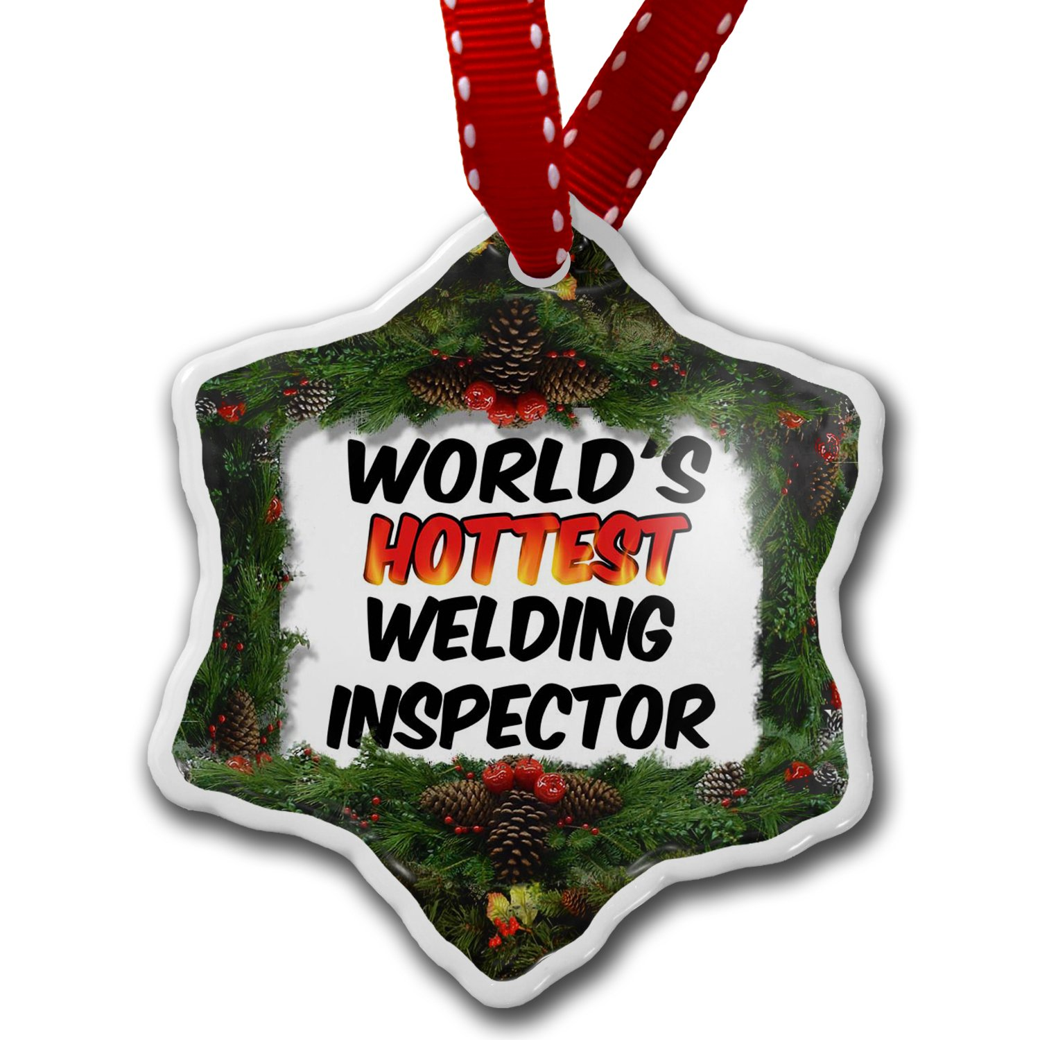 Amazon: Christmas Ornament Worlds Hottest Welding Inspector   Neonblond: Home & Kitchen