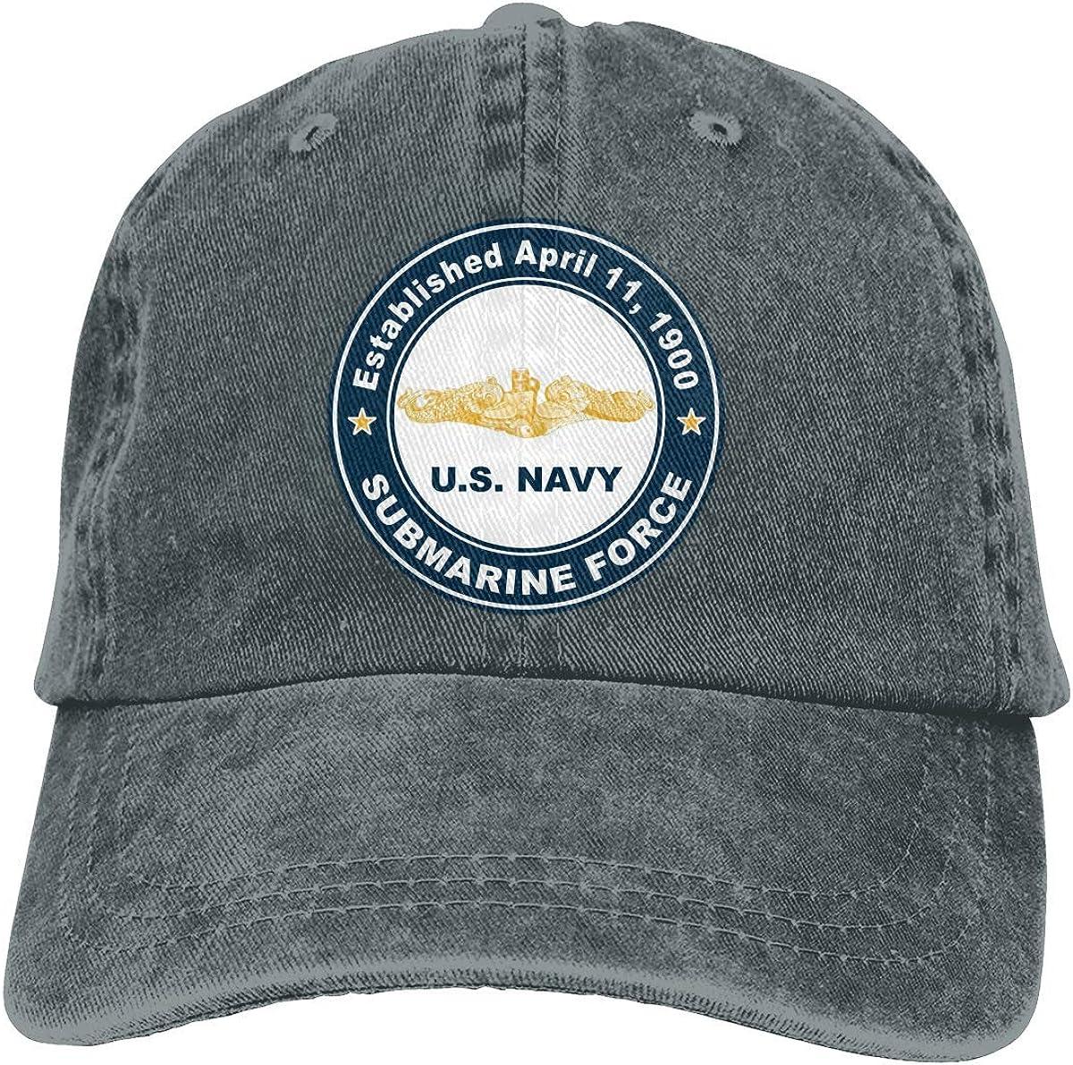 not applicable Armada de los EE. UU. Establecida el 11 de Abril de 1900 Submarine Force Gold Gorras de béisbol Ajustables Sombreros de Mezclilla Cowboy Sport Outdoor