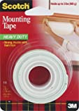 Scotch 3M Heavy Duty Mounting Tape RH7F, 1-Inch by 50-Inch, 2-PACK