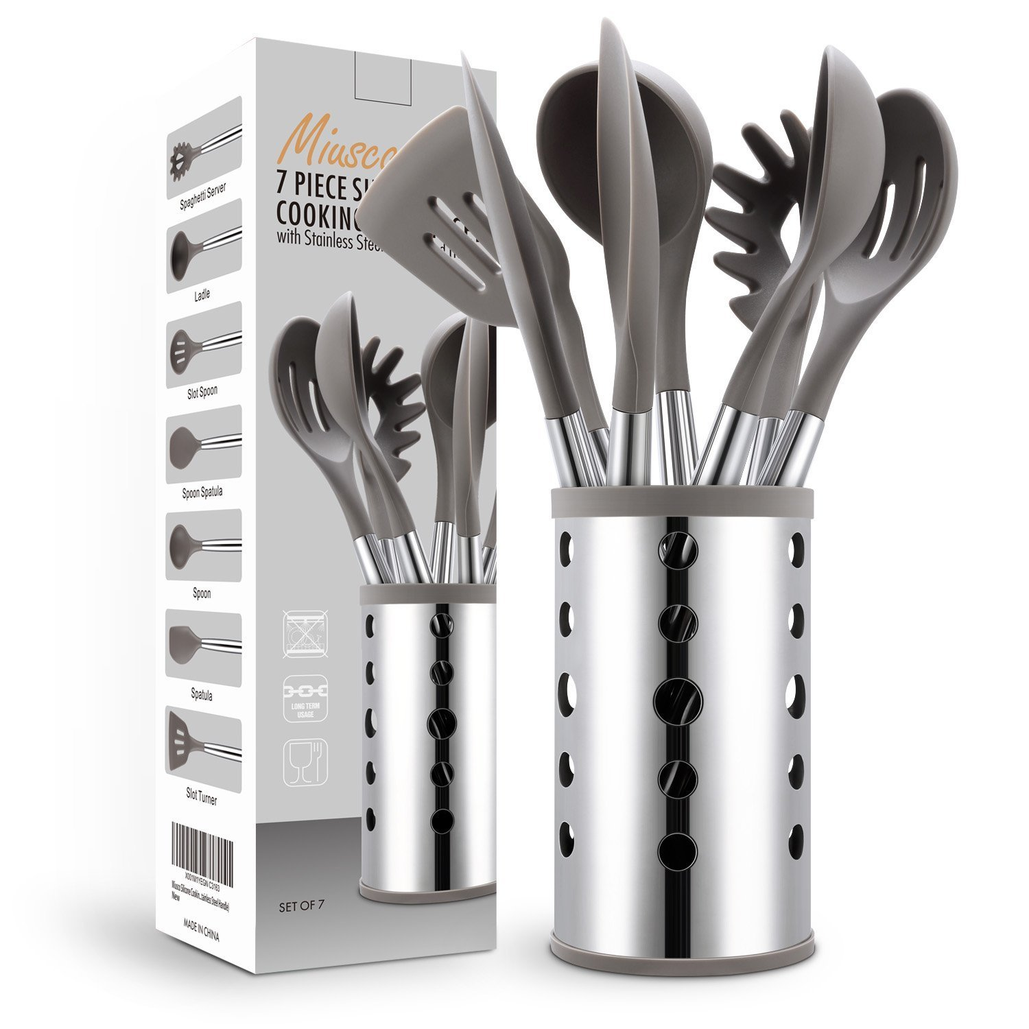 7 Piece Silicone Cooking Utensil Set with Stainless Steel Handle & Utensil Holder UK Plaque