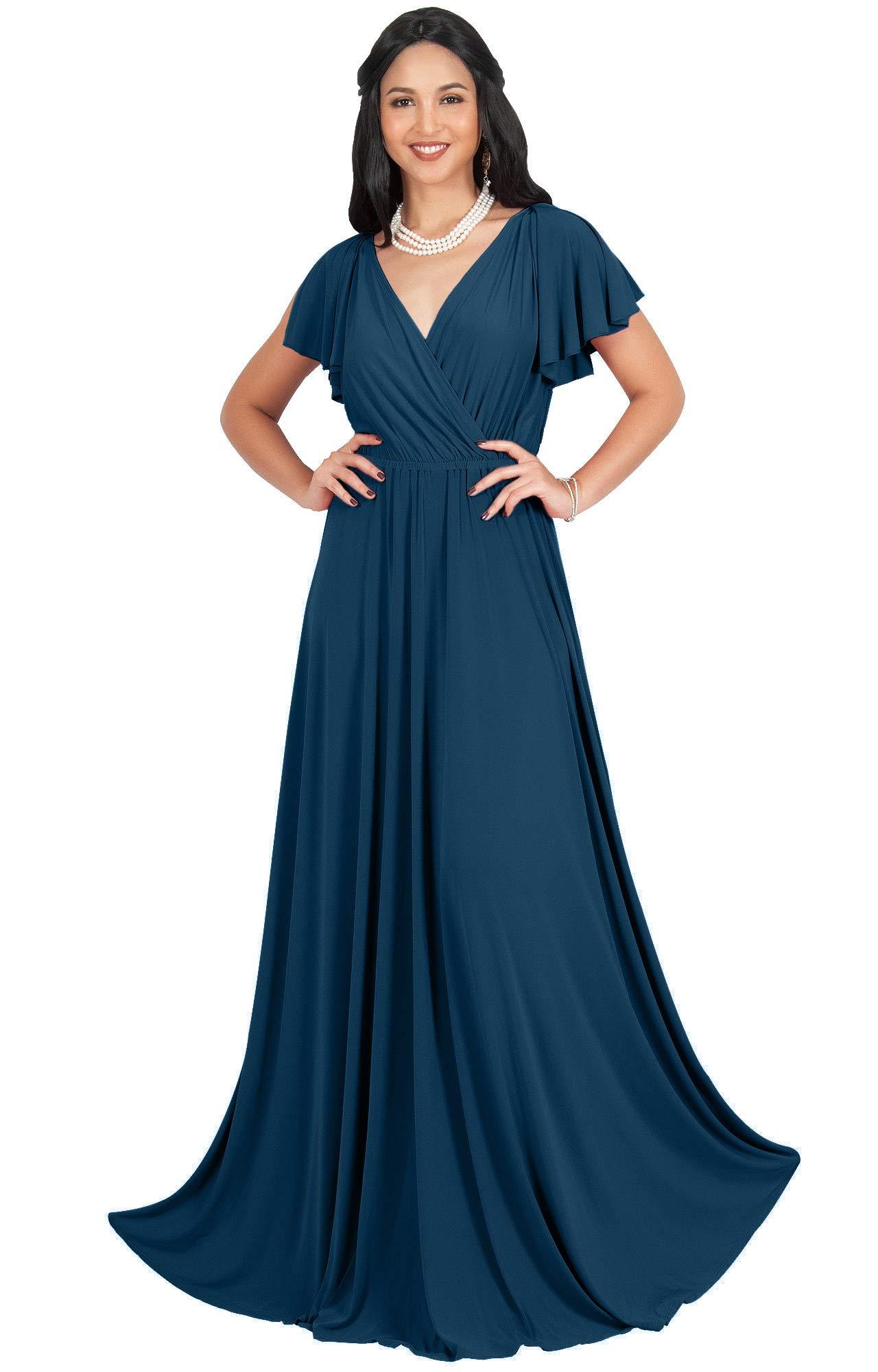 Womens Long Wrap V-Neck Flowy Sleeveless Flowy Evening Bridesmaid Maxi Dress