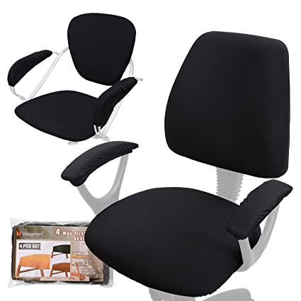Delicieux Voilamart Office Chair Seat Cover   Stretchable Universal Chair Cover  Rotating Desk Chair Cover   Black