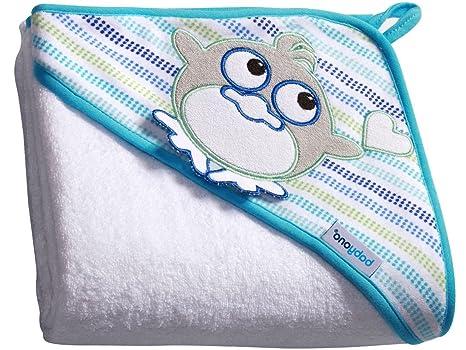 Bebé toalla de baño con capucha TERRY / Toalla capucha Niño 100x100cm (blanco/pingüino