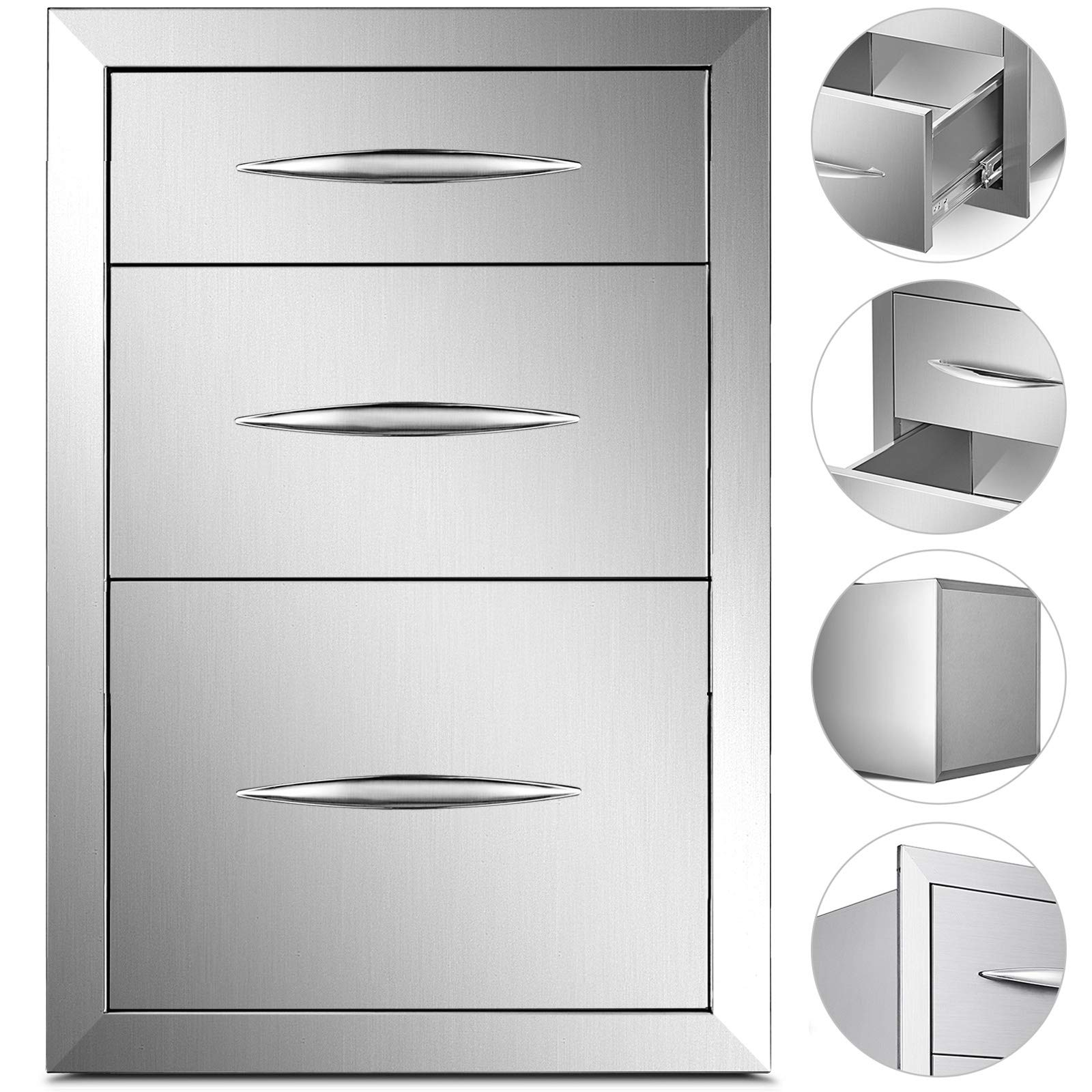 Mophorn 15x21 Inch Outdoor Kitchen Stainless Steel Triple Access Drawers BBQ Storage with Chrome Handle, Silver by Mophorn