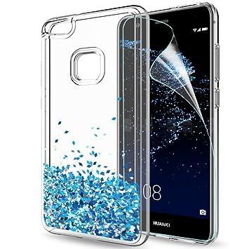 LeYi Funda Huawei P10 Lite Purpurina Carcasa con HD Protectores de Pantalla, Brillante Liquida Cristal Transparente TPU Ultrafina Silicona Case ...