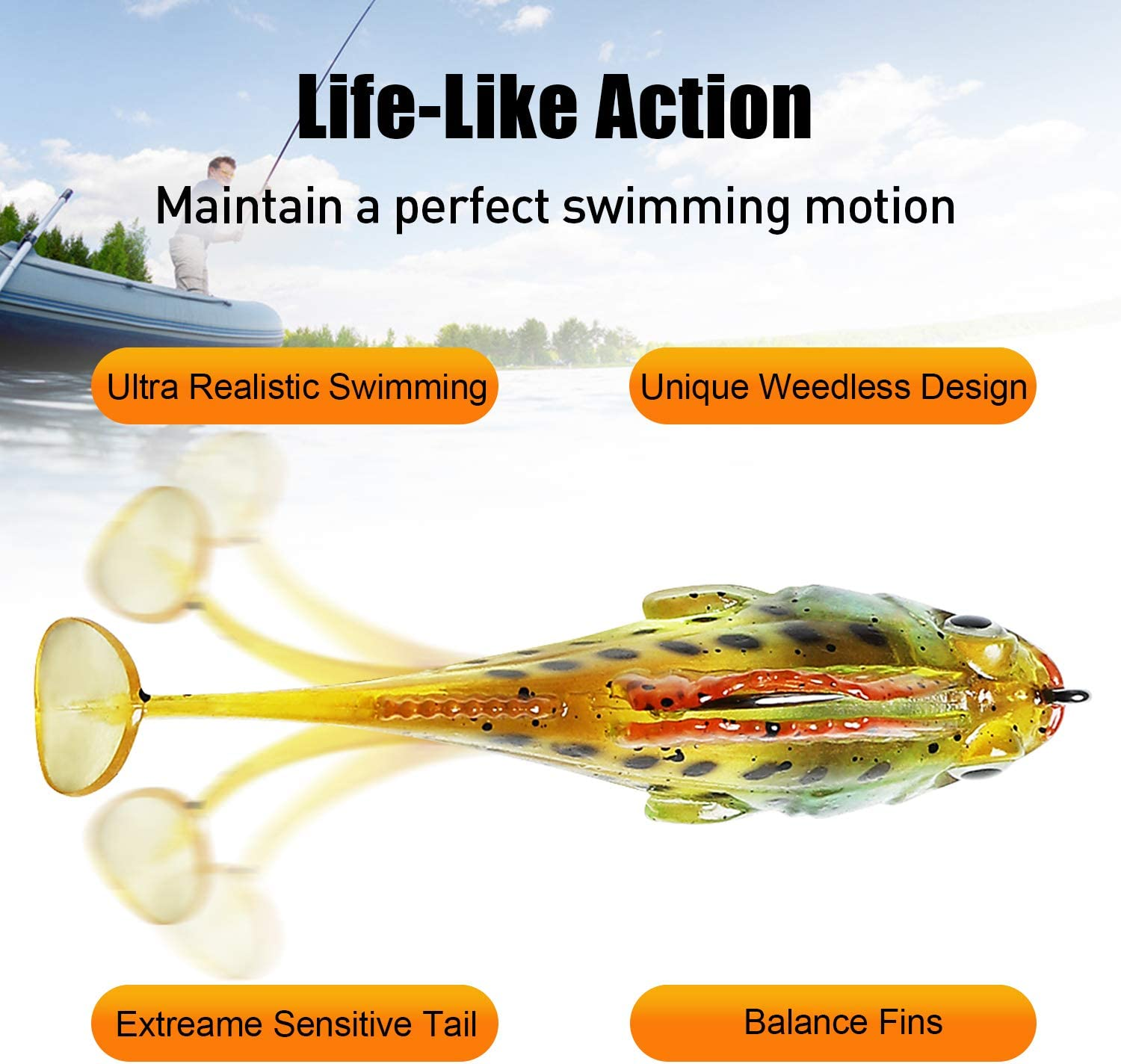 GOTOUR Soft Fishing Lures, Topwater Swimming Lure, Lifelike Spinnerbait Swimbait Crankbait, Soft Lure for Trout Perch for Freshwater and Saltwater : Sports & Outdoors