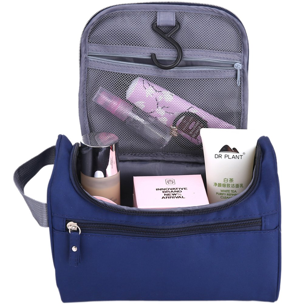 Kunge Hanging Toiletry Bag Organizer For Men or Women Waterproof – Travel Size with Hanging Hook for vacation Cosmetic Navy Blue