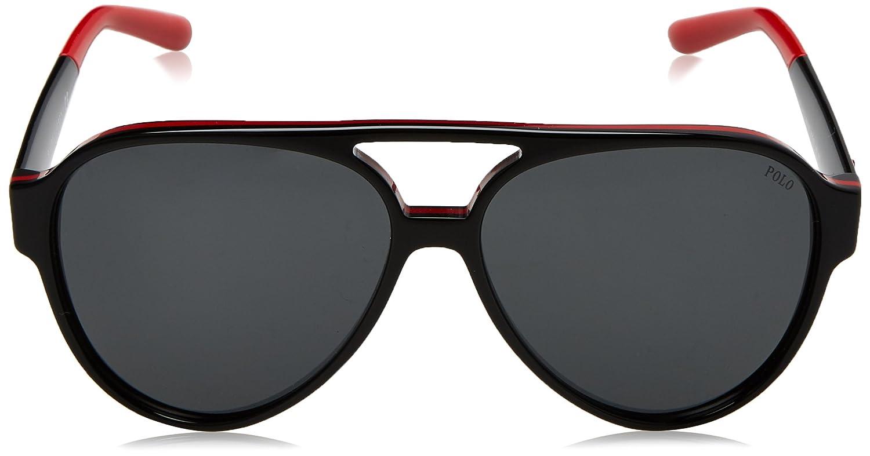 POLO 0PH4130 566887, Montures de Lunettes Homme, Noir (Black/Red/Black/Grey), 61