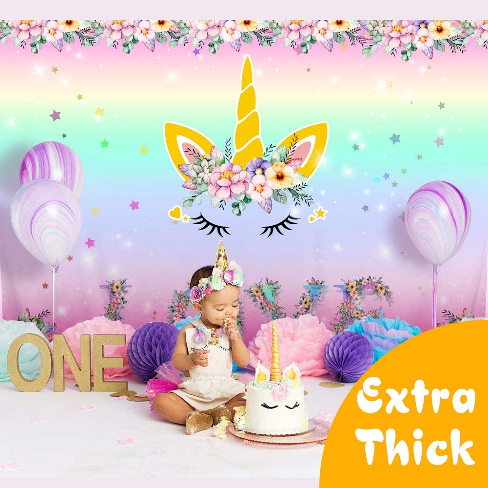 Wmbetter 7x5ft Unicorn Backdrop Birthday Photography Background for Girls, Rainbow Floral Love Backdrop for Unicorn Party Supplies Studio Props by OurWarm