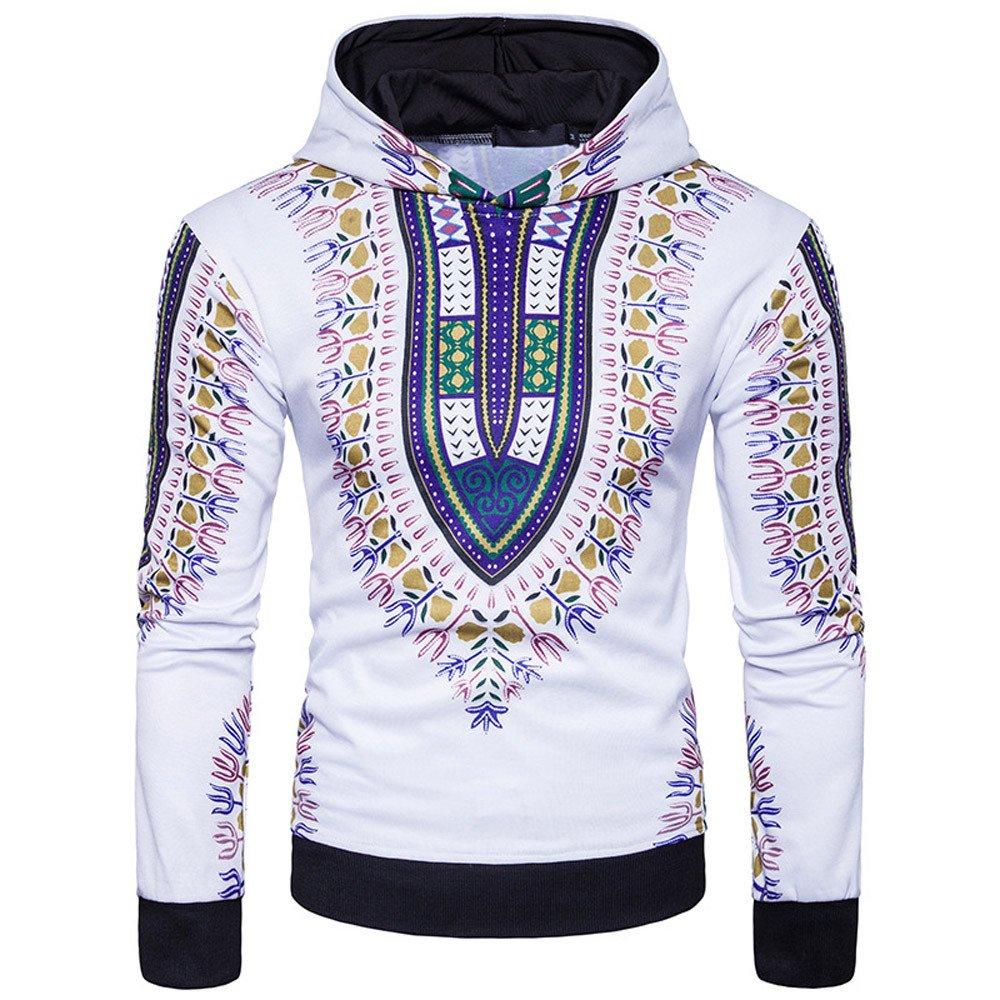 ShenPr Men's Long Sleeve African Print Dashiki Sweatshirts Pullovers Tops Fashion Hoodies Sweatshirts