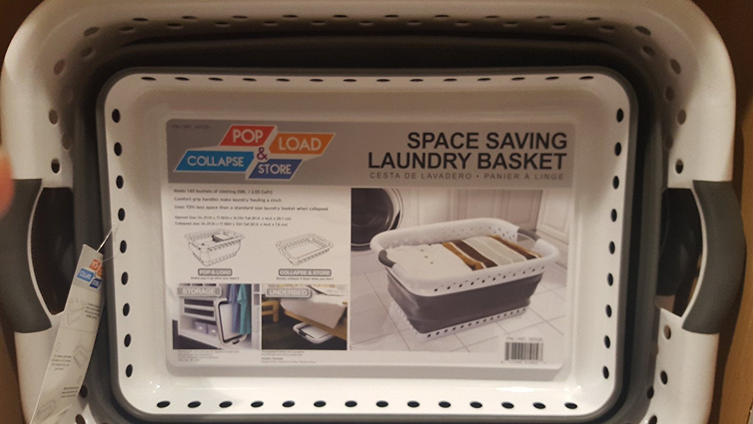 Space Saving Laundry Basket pop and load