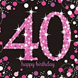 16 x Pink Celebration Age 40 Napkins Pink & Black