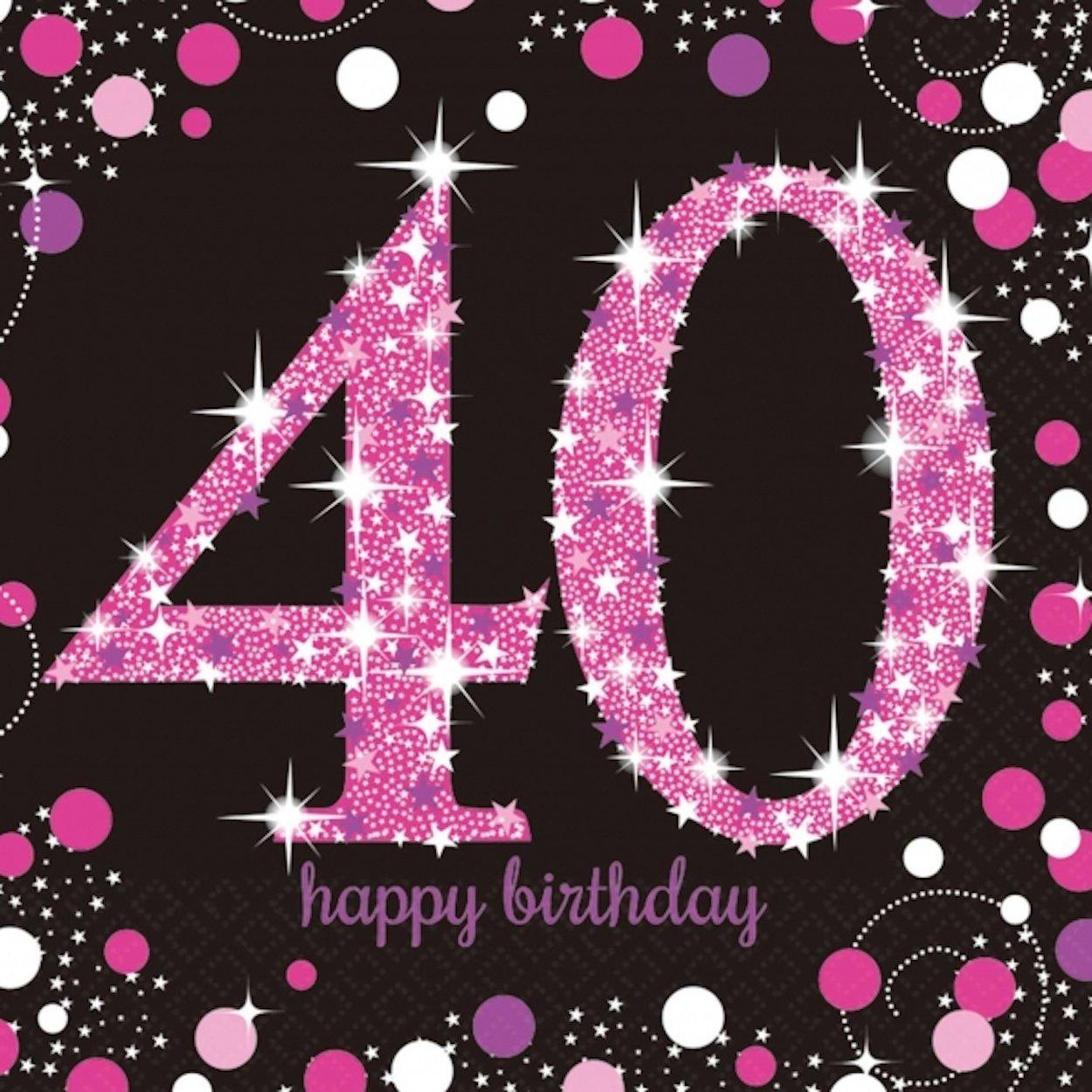 Amscan - 16 x servilletas de celebración de los 40 años ...