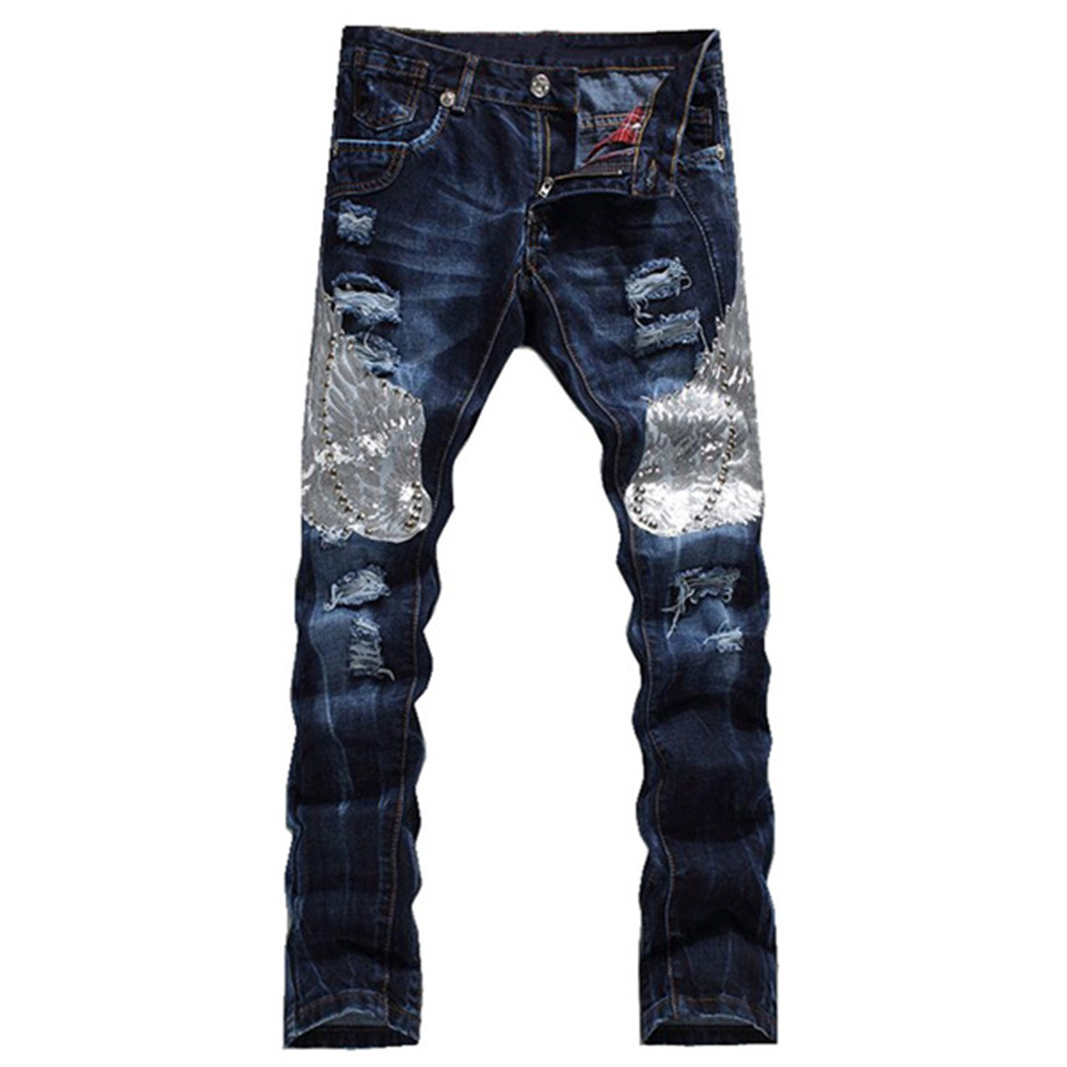 TOPING Fine Men's Fashion Eagle Wing Embroidered Denim Pants Male Casual Hole Ripped Jeans Slim Straight Trousers Blue36