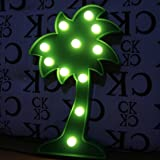 QiaoFei LED Palm Tree Light,3D Tropical Palm Tree Signs, - Wall Decor Holiday Birthday Party LED Marquee Lights, for Party Table Decorations,Cute Office Decor,Seasonal Home Decor(Green)