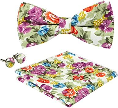 Browti Cotton Floral Pattern Bow Tie Knot Bowtie Pocket Square Hanky Cufflinks Set