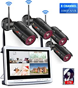 Homall1080P Home Security Camera System Wireless with 12 Inch Monitor