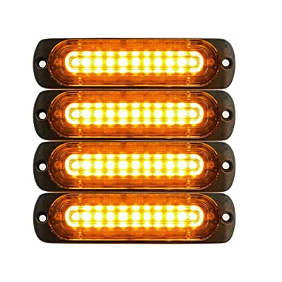 DIBMS 4x Ultra Slim Amber 10-LED Side Strobe Warning Emergency Caution Construction Car Truck Van Light Bar: Automotive