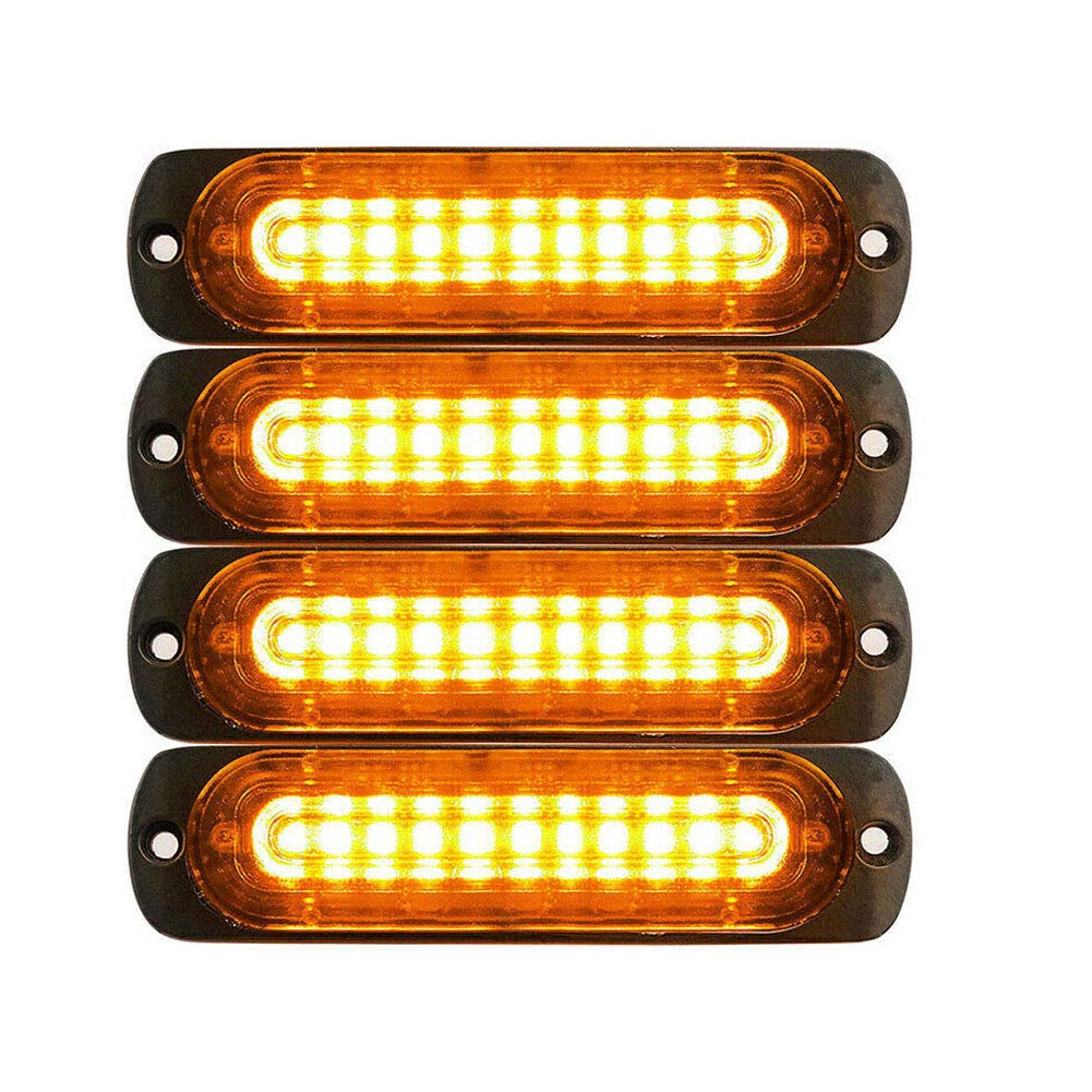 PESIC 4x Ultra Slim Red 10-LED Side Strobe Warning Emergency Caution Construction Car Truck Van Light Bar