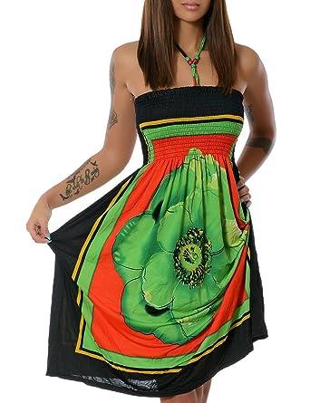 Damen Kleid Sommerkleid Strandkleid No 13765 One Size Grün (F020)   Amazon.de  Bekleidung 1a1700954d