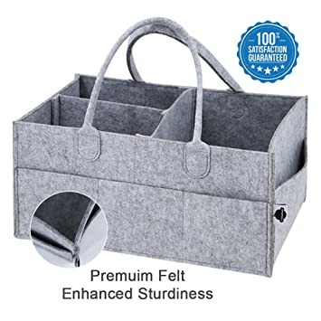 Grey Felt Baby Diaper Caddy Nursery Storage Wipes Bag Nappy Organizer Container