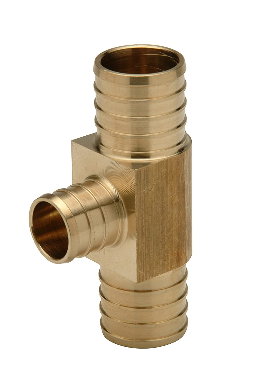 1-1//4 Barb Brass Pack of 10 Large Diameter Zurn QQT666GX Crimp XL Tee