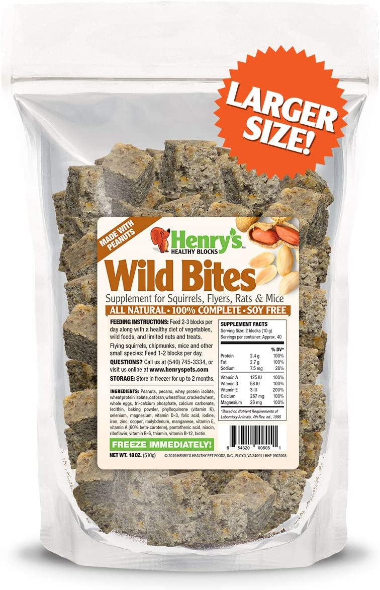 Henry's Wild Bites - The Only Food for Squirrels, Flyers, Rats and Mice Baked Fresh to Order, 18 Ounces